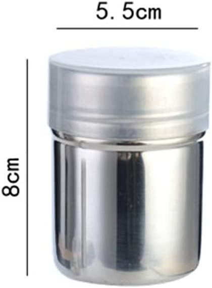Silver Stainless Steel Fine Mesh Dredger Flour Cans Powder Sugar Shaker