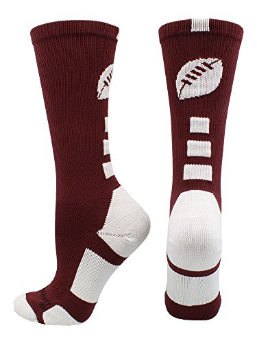 - MadSportsStuff Football Logo Crew Socks (Maroon/White, Small)