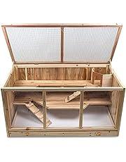 Julido Maxi klatka dla chomików, klatka dla małych zwierząt, drewniana klatka dla gryzoni, klatka na myszy, szczury, z drewna, z 3 poziomami