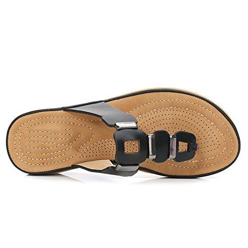 Casual Pantoufles Toe Black Sandales D'été Aqua Heel Plateforme Pente Sandales Et Antidérapante Beach avec Et Lady Pantoufles wF0C0q8x