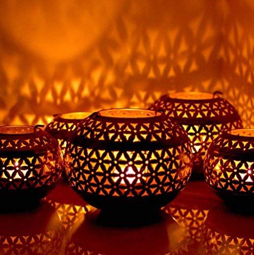 (Garden Of Arts Moroccan Vintage Tea Light Holder Lantern for Christmas Lighting)