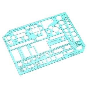 Linex LXG1263S - Plantilla para dibujar muebles (con símbolos de muebles y habitaciones, escala 1-50, 230 x 160 mm, tintada), color verde