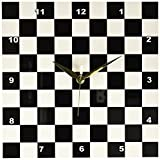3dRose dpp_154527_1 Check Black and White Pattern-Checkered Checked Squares Chess Checkerboard or Racing Car Race Flag-Wall Clock, 10 by 10-Inch For Sale