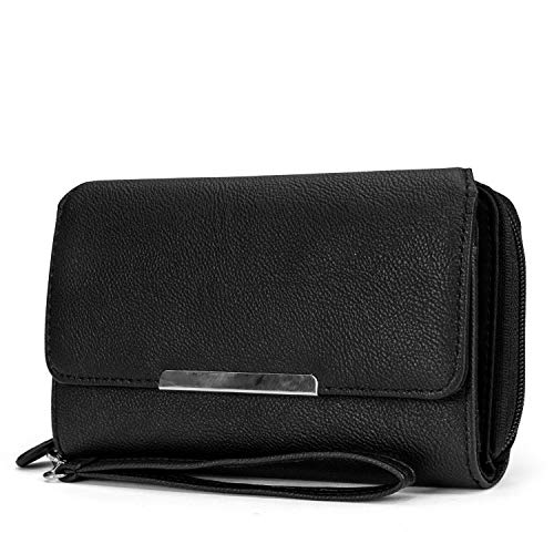 MUNDI Big Fat Womens RFID Blocking Wallet Clutch Organizer Removable Wristlet ((Black)) -