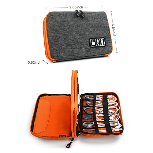 Electronics Organizer, Jelly Comb Electronic Accessories Cable Organizer Bag Waterproof Travel Cable Storage Bag for Charging Cable, Cellphone, Mini Tablet (Up to 7.9'') and More (Orange and Gray) Photo #3
