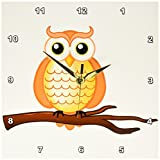 3dRose dpp_165566_1 Orange Wise Owl-Wall Clock, 10 by 10-Inch For Sale