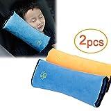 Lezed (2pcs) Seat Belt Pillow Children Shoulder Pillows Safety Belt Headrest Kids Pillow Car Shoulder Pads Neck Cushion Seat Pillow Seatbelt Pillow Clip Seatbelt Strap(Blue and Yellow)
