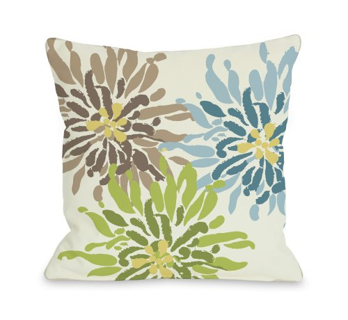 """One Bella Casa Lowell Floral Throw Pillow by OBC, 16""""x 16"""","""