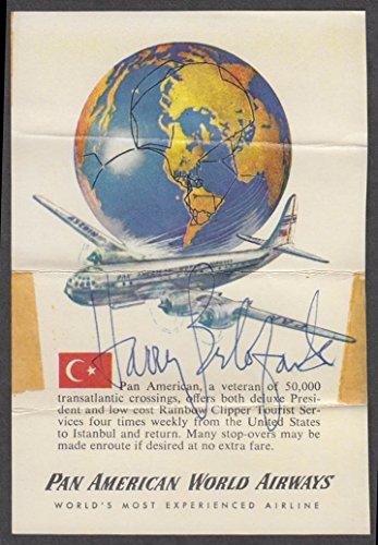 (Harry Belafonte AUTOGRAPH Pan Am Stratocruiser ca 1950s)