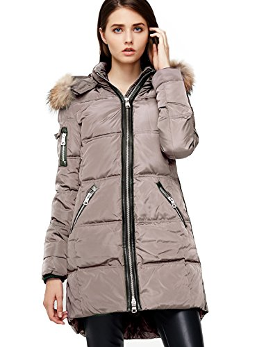 down coat with real fur hood - 6