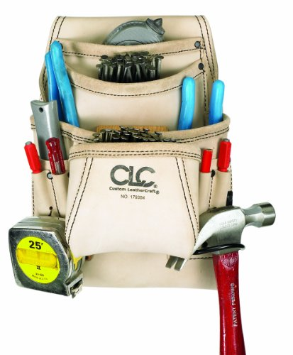 CLC Custom Leathercraft 179354 Carpenter's Nail and Tool Bag Reversed Top Grain, 10-Pocket by Custom Leathercraft