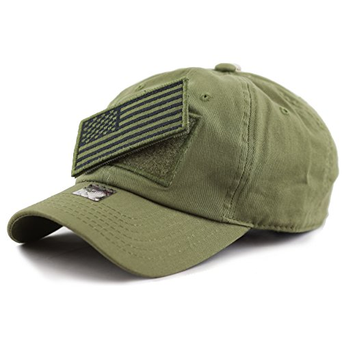 THE HAT DEPOT Low Profile Tactical Operator with USA Flag Patch Buckle Cotton Cap (Olive) (Tactical Hat With Patch)
