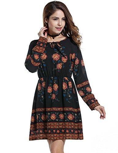 Zeagoo Women's Bohemian Style O-neck Long Sleeve Floral Casual Dress (X-Large, Black)