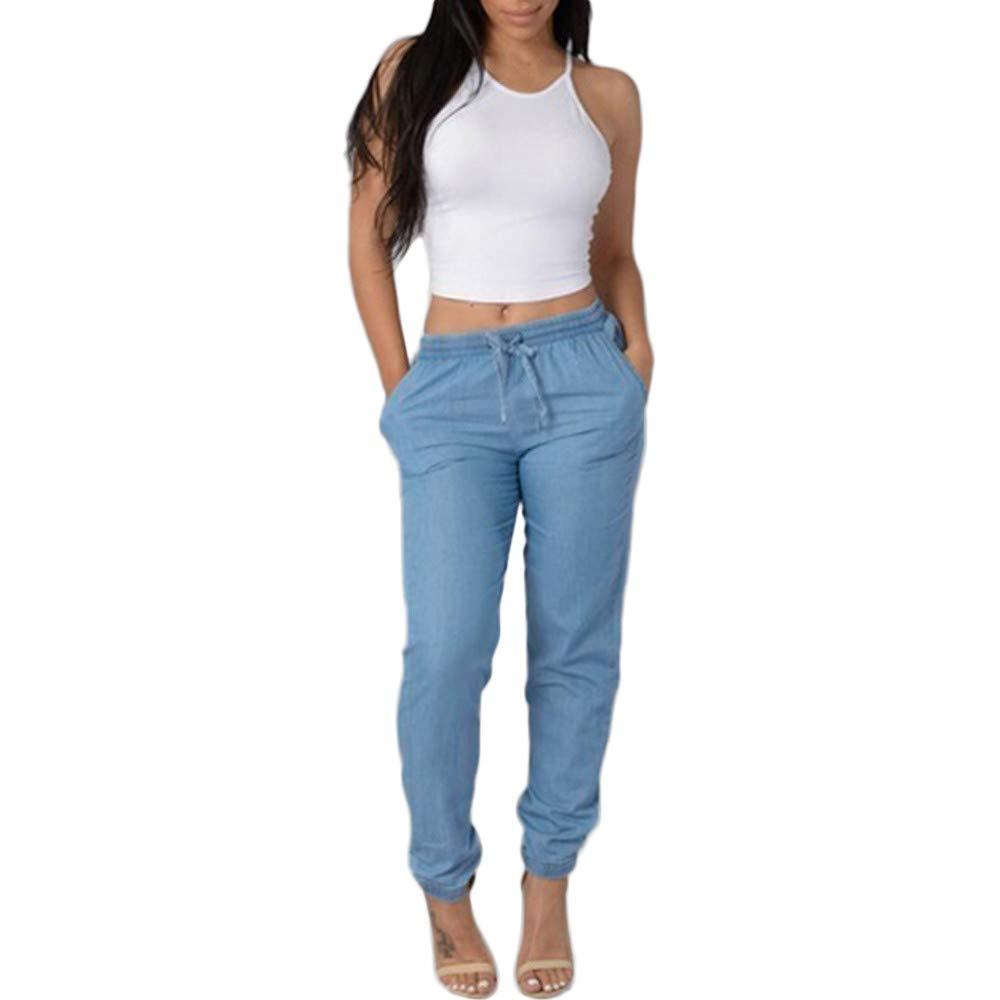 Lookvv New Womens Elastic Waist Casual Pants High Waist Jeans Casual Blue Denim Pants
