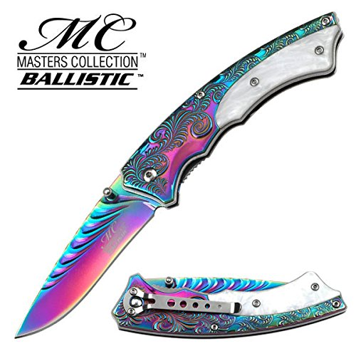New Master Collection Spring Assisted White Resin rainbow coated collectible Eco'Gift LIMITED EDITION Knife with Sharp Blade