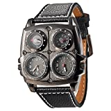 Fanmis Men's Dual Time Zones Large Black Watch W/Compass Thermometer Big 5cm Multi-function Dial