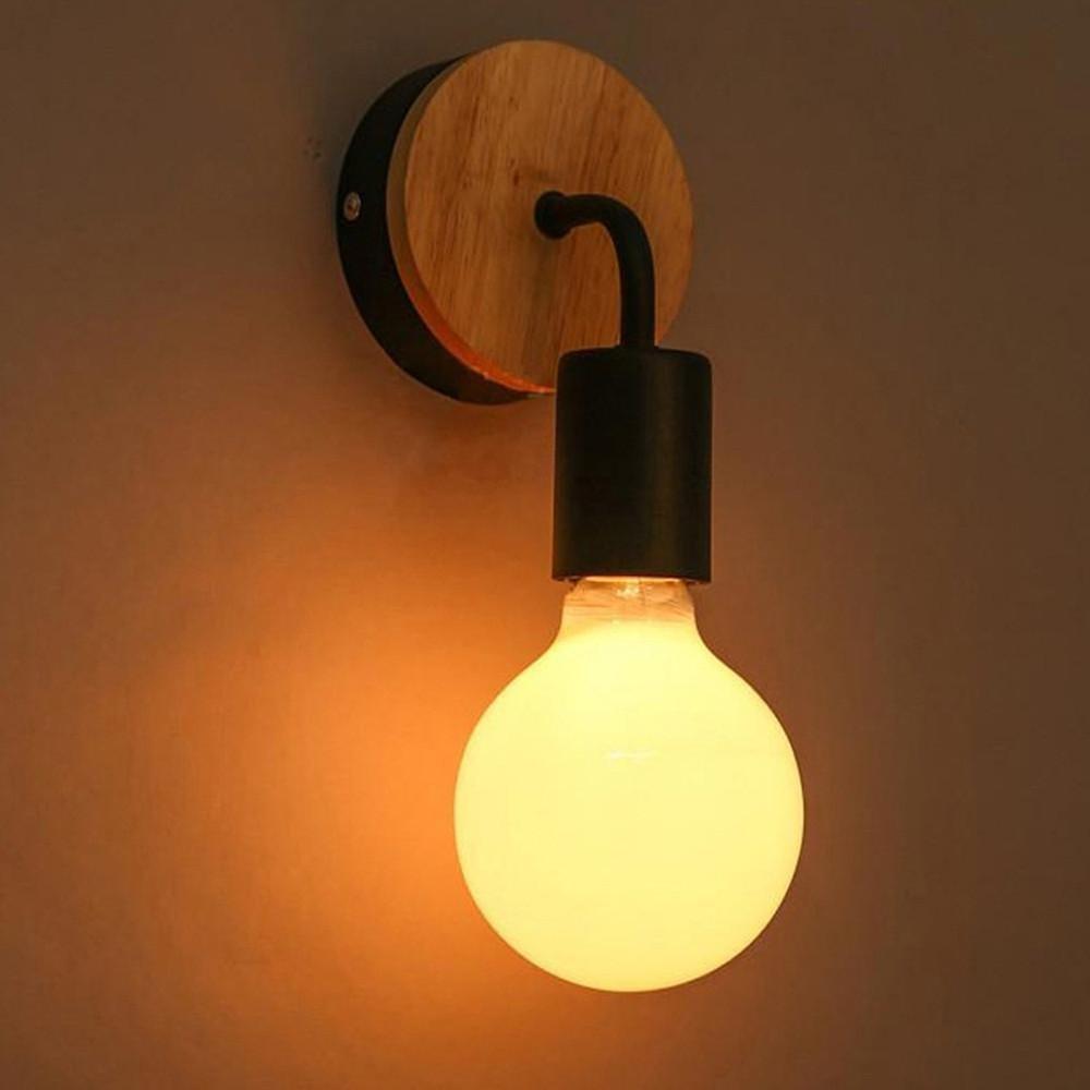 Vi-xixi LED E27 Vintage luz de pared blanca caliente Luz de pared doméstica de madera y metal de Minimalism Lámpara de pared para restaurante de escalera de pasillo de dormitorio (negro)