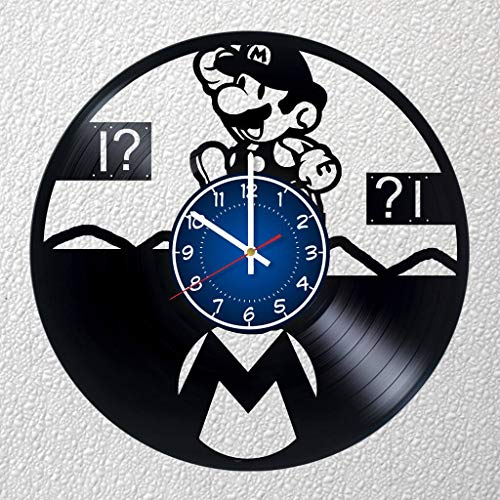 Mario 12 inches / 30 cm Game Vinyl Record Wall Clock | Mario Fan Gift | Boys Room Decor Idea Home Art Party | Mario & Luigi, Super Mario RPG, Paper Mario, Mario is Missing!, Mario's Time Machine]()
