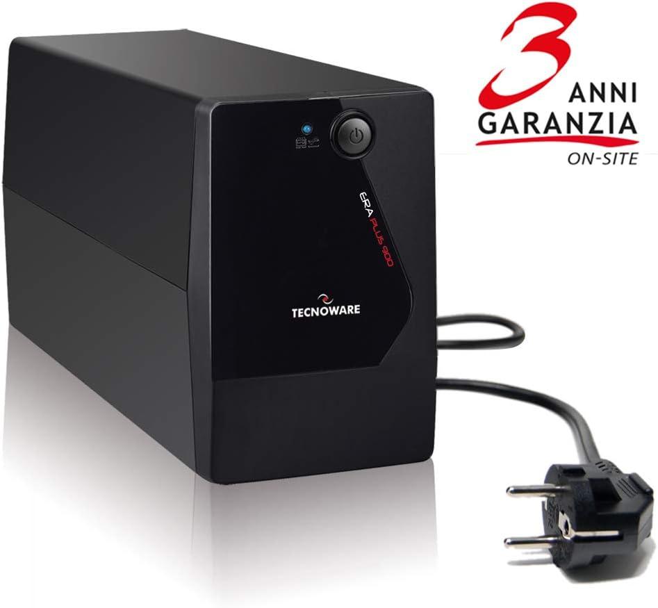 Tecnoware FGCERAPL750 ERA PLUS 750 - Sistema de alimentación ininterrumpida SAI , Potencia 750 VA, Autonomía hasta 10 min con 1 PC o 40 min con Modem Router, Estabilización AVR