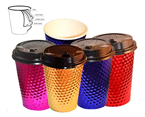 12 Oz Christmas Party Cups, Disposable Coffee Cups with Lids, Hot and Cold Drinking Cups, Gold Pink Blue Red Paper Coffee Cups, Disposable Insulated To Go Paper Coffee Cups, 48 Packs (With Lid)