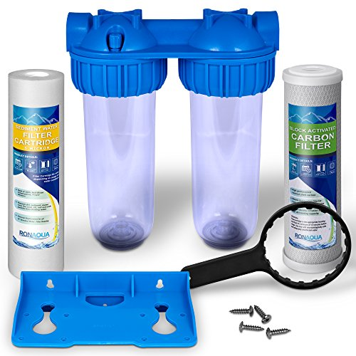 Dual Whole House Water Filter Purifier with Carbon Block and Sediment Filters by Ronaqua