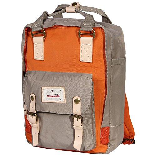 Himawari Multifunktionsrucksack für 13-Zoll-Laptop (Marine blau & Wein rot) Gray & Orange 6086zaNsT