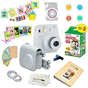 Fujifilm Instax Mini 9 Instant Camera SMOKEY WHITE w/ Fujifilm Instax Mini 9 Instant Films (20 Pack) + A 14 Pc Deluxe Bundle by Quality Photo For The Fujifilm Instax Mini 9 Camera