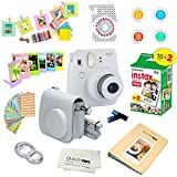 Fujifilm Instax Mini 9 Instant Camera – SMOKEY WHITE + Fuji INSTAX Film (20 Exposures) + Multifarious Instax Accessory Kit BUNDLE Includes; Case/Strap & Album + Fun Frames/Stickers/Lenses + MORE