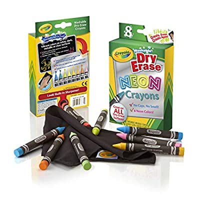 Crayola; Dry-Erase Neon Crayons; Art Tools; 8 Count; Washable; Perfect for Classroom Art Activities; Includes Sharpener and Erase Cloth: Toys & Games