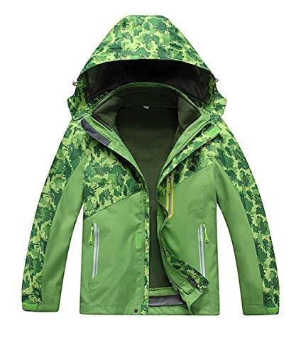 M2C Boys Hooded 3 in 1 Waterproof Fleece Mountain Jacket 7/8 Green (Best 3 In 1 Jacket Reviews)