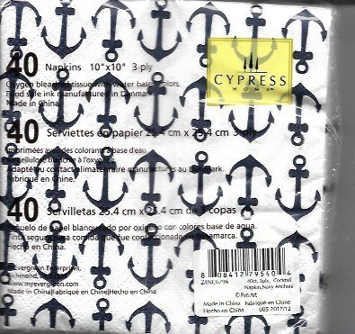 Cypress Home Beverage Napkins Navy Anchors 40 Count