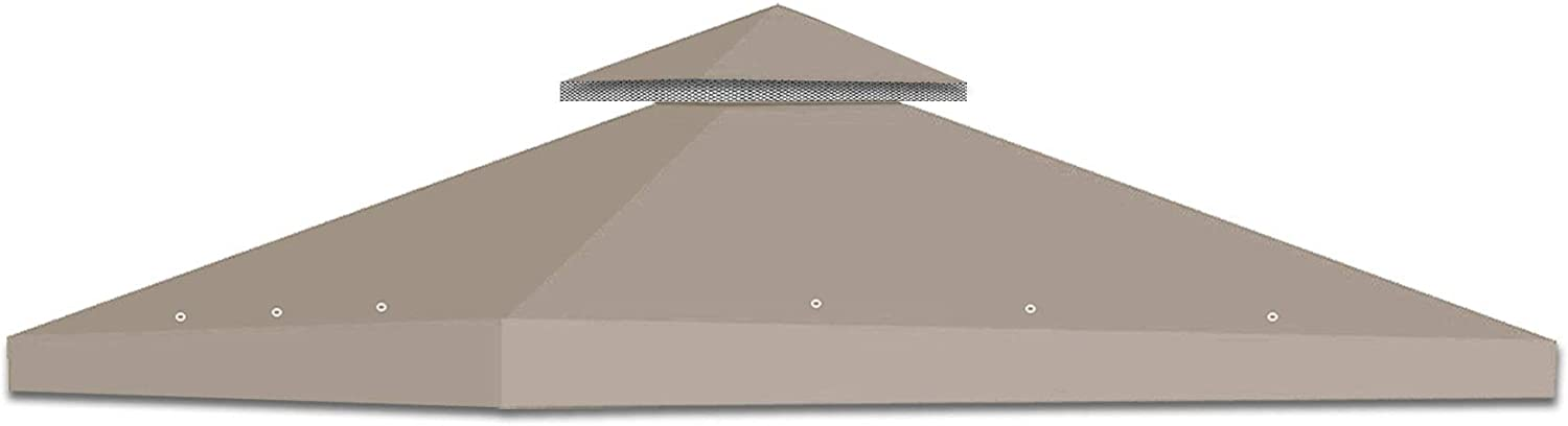 Strong Camel 2-Tier Double Tier Replacement Wedding Party Tent Cover 10x10 Polyester Gazebo Canopy Top-Brown Color