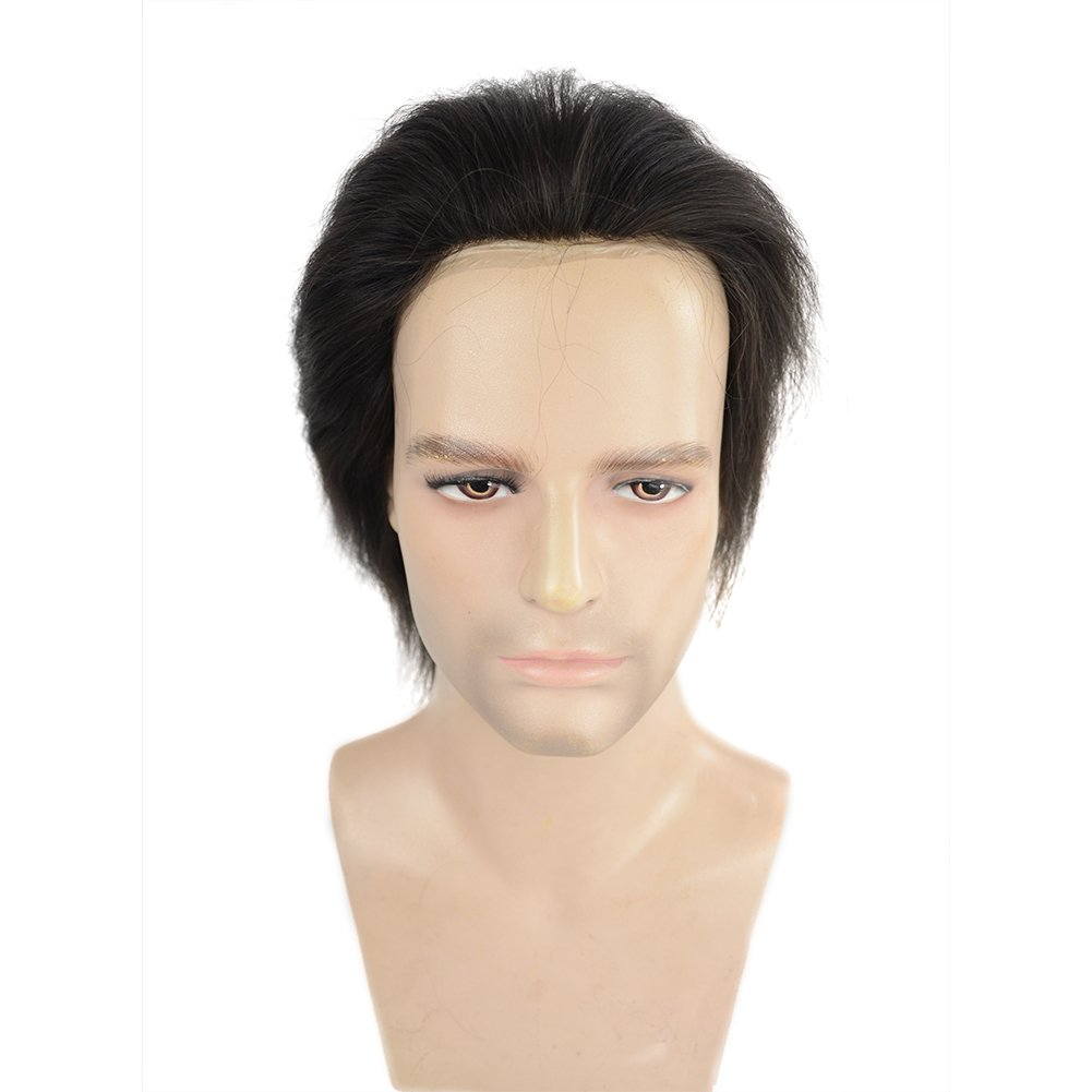 Human Hair Toupee for Men with 8x10 Inch 0.06mm Skin Cap V-looped and Black Vrigin Natural Wave Hair, Mens Toupee Wigs Hair Pieces Replacement System for Men by LLWear by LLWear (Image #2)