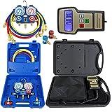 digital ac manifold gauge set - Zeny Portable 220 Lbs Digital Refrigerant Electronic Charging Scale HVAC AC R134a Manifold Gauge Set With Case (Electronic Scale & Manifold Gauge Set)