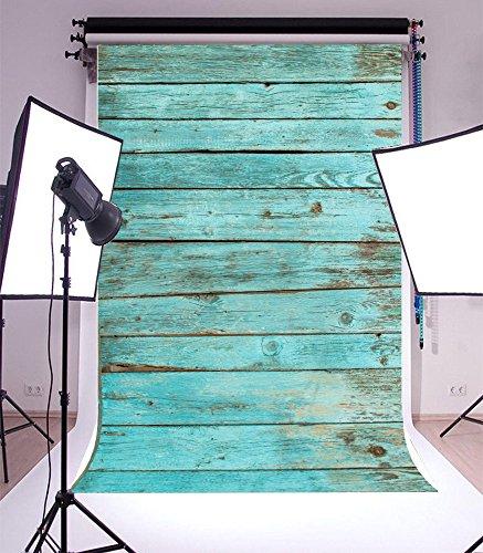 Yeele 5x7ft Blue Vintage Wood Board Photography Backdrops Vinyl Retro Hardwood Shabby Wood Floor Photo Background for Boy Adult Kid Baby Artistic Portrait Photo Video Shoot Studio Props (Hardwood Floor For Photography)