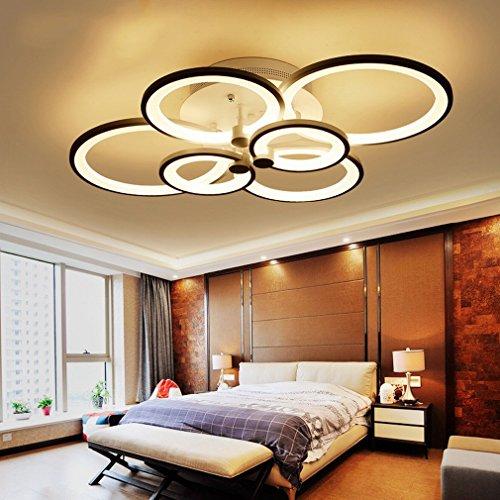 - PLLP Modern Simple Creative Led Circle Circle Living Room Bedroom Fashion Restaurant Light Acrylic Personality Ceiling Light,6 head,No aurora