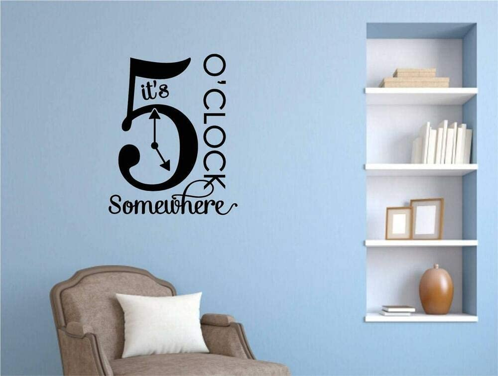 N.SunForest It's 5 O'clock Somewhere Vinyl Decal Wall Stickers Letters Words Kitchen Decor