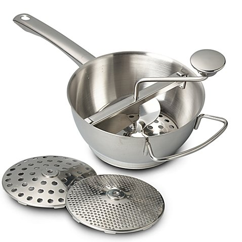 Stainless Steel Food Mill / Potato Ricer, My Perfect Kitchen, 2-Quart, Three Blades: Fine, Medium, Coarse