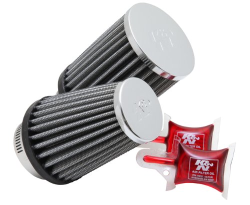 K&N RC-1289 Universal Clamp-On Air Filter: Round Straight; 1.875 in (48 mm) Flange ID; 4 in (102 mm) Height; 3 in (76 mm) Base; 3 in (76 mm) Top