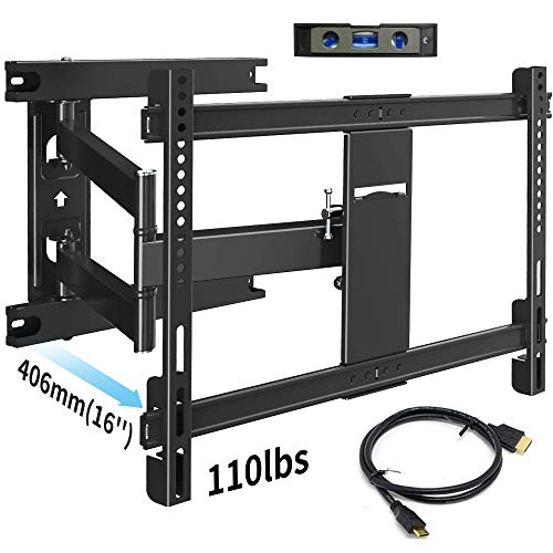 """Everstone TV Wall Mount Bracket Full Motion for Most 32-70 inch TVs up to 110 Lbs VESA 600x400mm with Articulating Arms Extend 16"""", Swivel 180°, Tilt 15° and 3° Level Adjust,Fits up to 16″ Studs"""