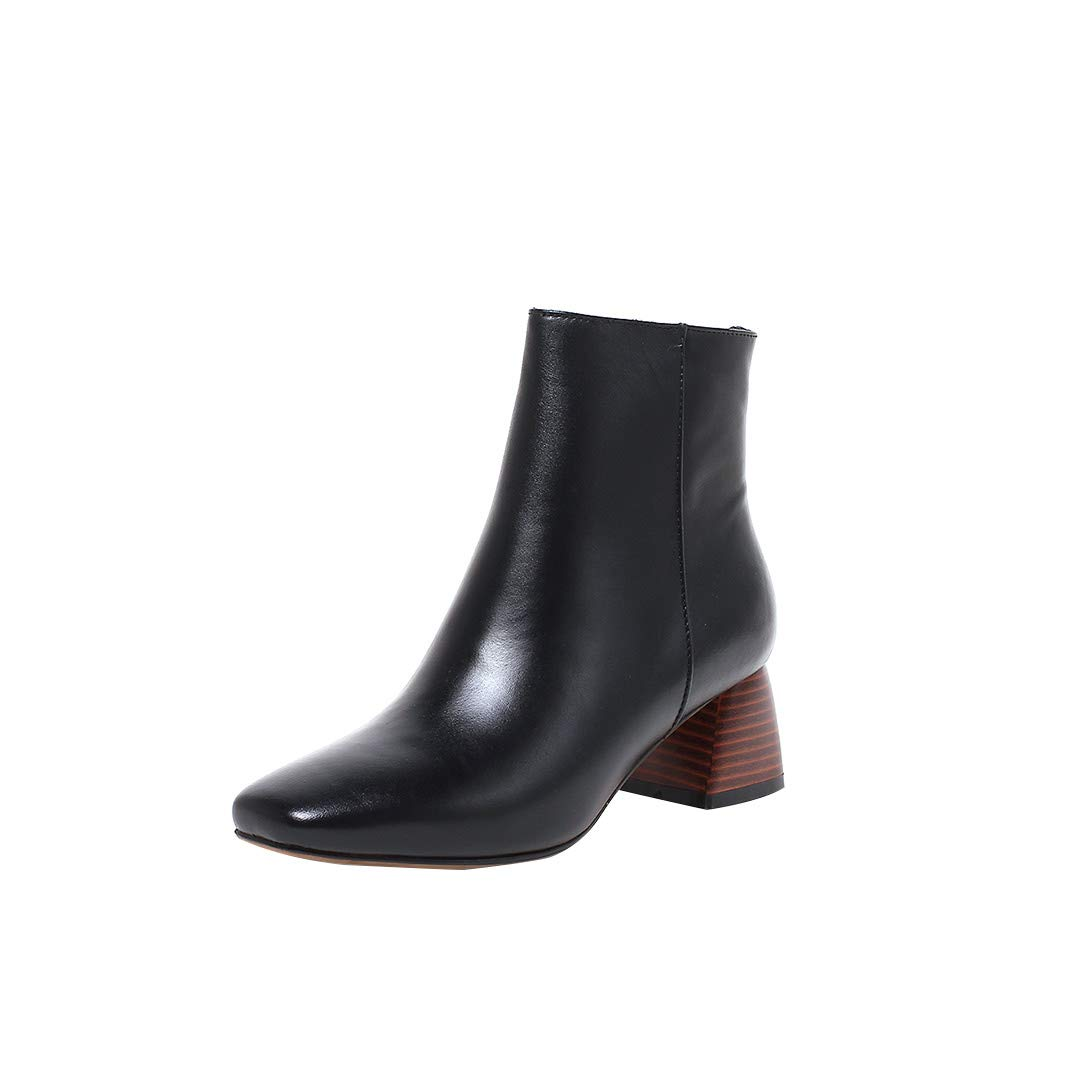 Black MAYPIE Womens Toappla Leather Zipper Ankle Boots