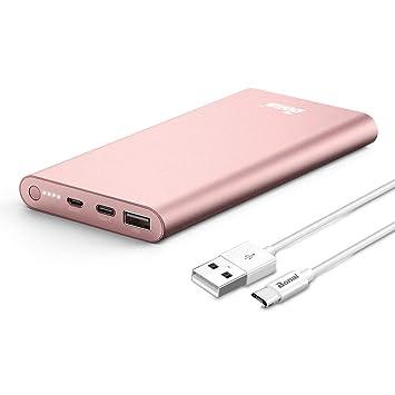 BONAI Power Bank 13800mAh,2 In 1 Tipo C Salida/Entrada, Bateria Externa Cargador Móvil Portáti para Smartphone Tablets y más - Oro Rosa