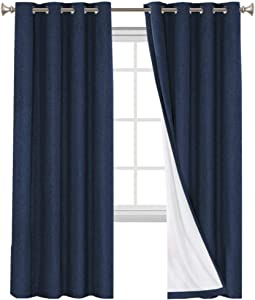 Primitive Textured Linen 100% Blackout Curtains for Bedroom/Living Room Energy Saving Window Treatment Curtain Drapes, Burlap Fabric with White Thermal Insulated Liner (52 x 108 Inch, Navy)