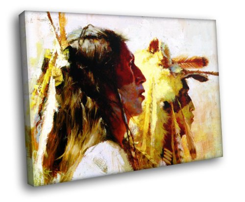 H5D6395 Native Americans Painting Art Indians 20x16 FRAMED CANVAS PRINT