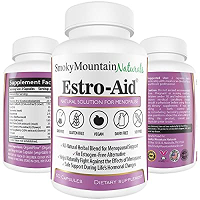 Estro-Aid: Herbal Menopause and PMS Supplement. Free of Dairy, Soy, Gluten, Magnesium Stearate, & GMOs. Vegan, Organic Veggie Capsule and Estrogen-Free. 100% Money-Back Guarantee.