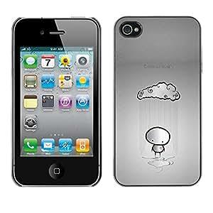 Caucho caso de Shell duro de la cubierta de accesorios de protección BY RAYDREAMMM - Apple iPhone 4 / 4S - Cloud Rain Stickman Sad Lonely Grey Heartbrake