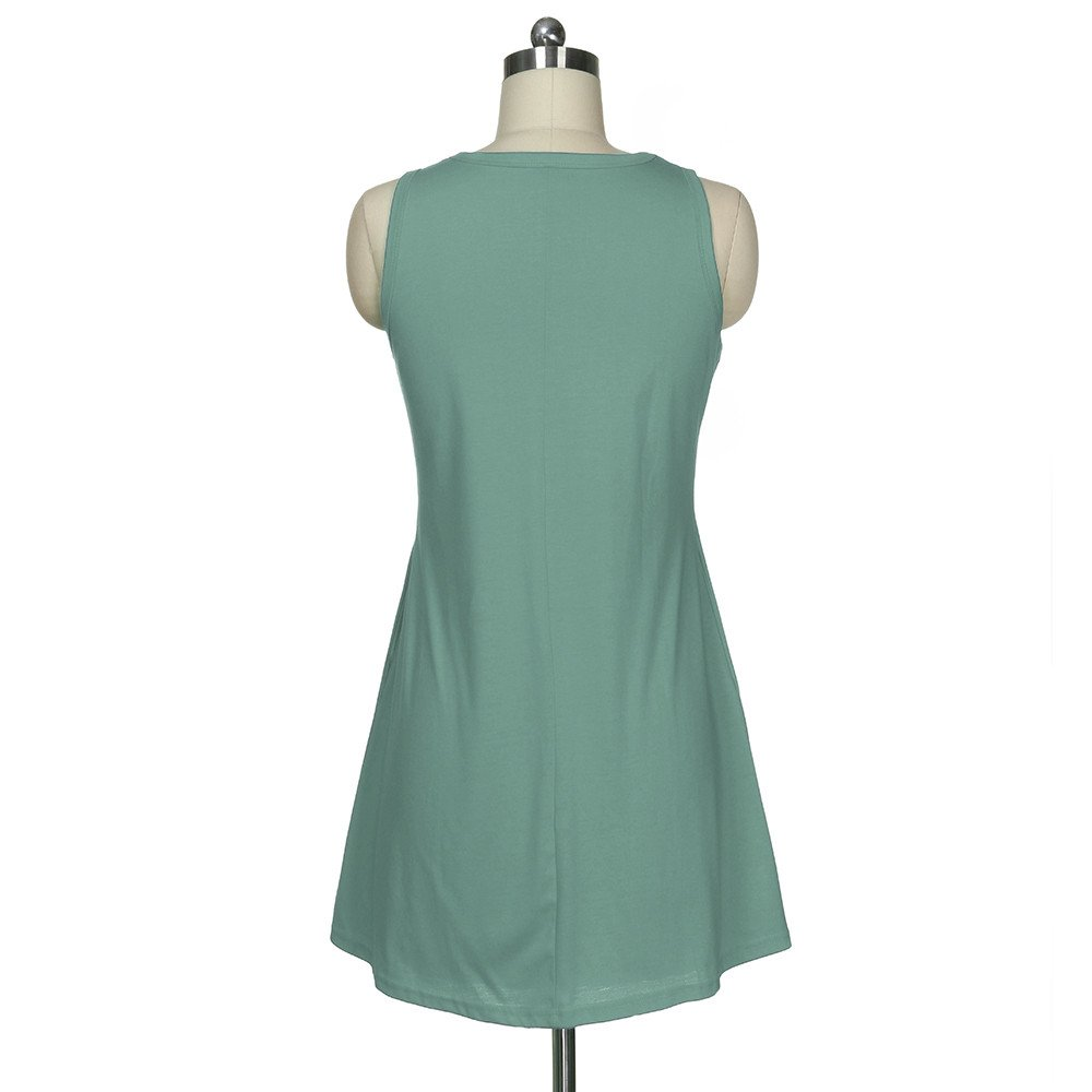 TOTOD Dress,Women O Neck Casual Pockets Sleeveless Above Knee Mini Dress Loose Party Sundress