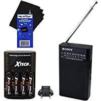 Sony Portable AM/FM Radio with Built-in speaker and headphone jack (Black) + 4 AA High Capacity Rechargeable Batteries with Battery Charger + HeroFiber Ultra Gentle Cleaning Cloth