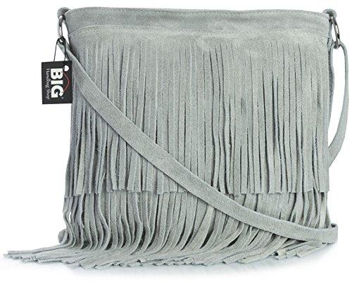 Big Handbag Shop - Bolso con flecos crossbody para dama de gamuza suave Gris Claro (Sl241)