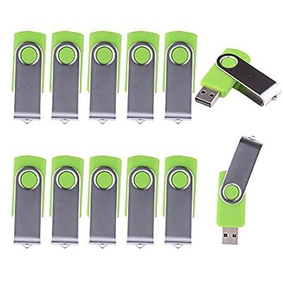 LHN® (Bulk 10 Pack) 4GB Swivel USB Flash Drive USB 2.0 Memory Stick (Green) by LHN